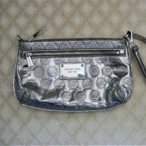 Michael Kors Silver Wristlet / Mini Purse / Clutch